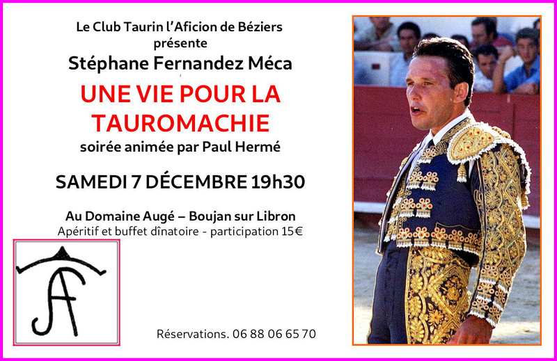 Boujan. Conférence-débat : « Meca, une vie pour la tauromachie ».