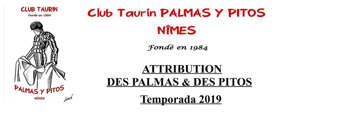 Attribution des Palmas y Pitos 2019.
