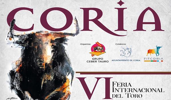 Coria. Le cartel du festival de la VI° Feria internationale du Toro.