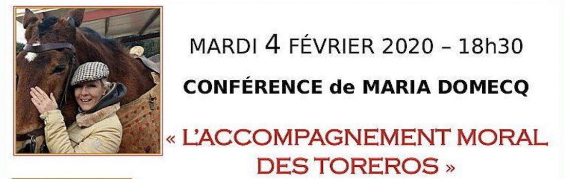 """Boujan. Conférence de Maria Domecq sur """"L'accompagnement moral des toreros""""."""