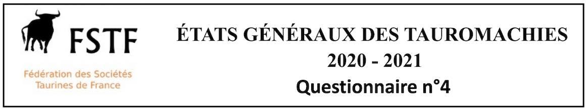 FSTF. Etats généraux des tauromachies. Le questionnaire 4 est en ligne.